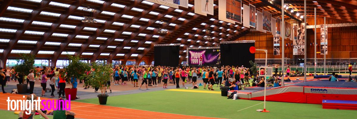 Scène et sonorisation Zumba marathon fitness MYF INSEP Paris